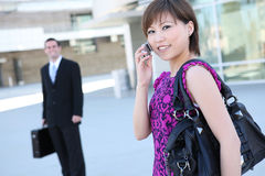 Pretty Asian Business Woman at Office Building Stock Photo