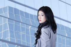 Pretty Asian businesswoman with long hair Stock Photography