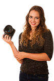 Pretty asian caucasian woman with camera in her hands Royalty Free Stock Photography