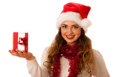 Pretty asian caucasian woman with santa claus hat celebrating ch Royalty Free Stock Images