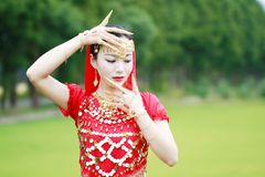 Pretty Asian Chinese belly dancer face close up Stock Photo
