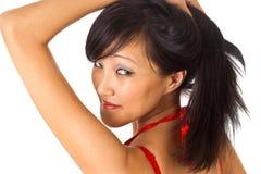 Pretty asian female. Portrait of pretty asian female isolated on white Stock Photo