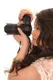 Pretty Asian girl with camera. Royalty Free Stock Photos