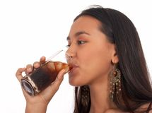 Pretty asian girl drinking Stock Photos