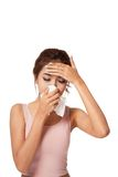 Pretty Asian girl has flu and fever Stock Photography