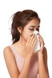 Pretty Asian girl has flu and fever Stock Photo