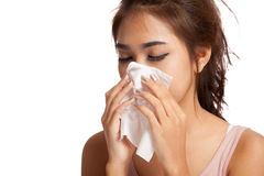 Pretty Asian girl has flu and fever Stock Image
