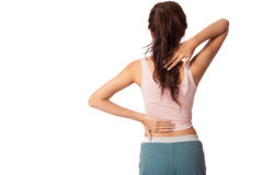 Pretty Asian girl has neck and back  pain Stock Photos