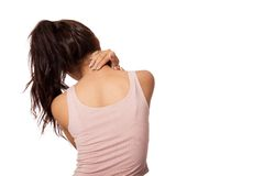 Pretty Asian girl has neck pain Stock Image