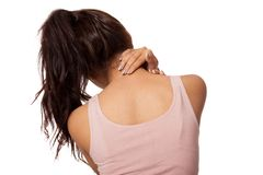 Pretty Asian girl has neck pain Stock Photo
