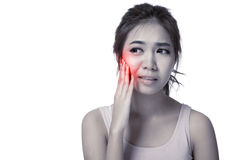 Pretty Asian girl has toothache Royalty Free Stock Photos