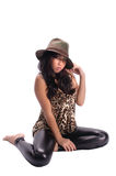 Pretty asian girl in a hat Stock Photography