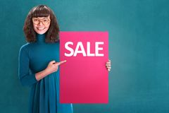 Cyber Monday Concept. Pretty asian girl holding red poster with  message. Cyber Monday Concept Royalty Free Stock Image