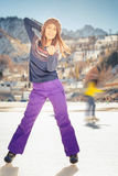 Pretty asian girl ice skating outdoor at ice rink Royalty Free Stock Image
