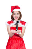 Pretty Asian girl in Santa costume for Christmas on white backgr Stock Image