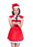 Pretty Asian girl in Santa costume for Christmas on white backgr Stock Photography