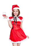 Pretty Asian girl in Santa costume for Christmas on white backgr Stock Images