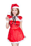 Pretty Asian girl in Santa costume for Christmas on white backgr Royalty Free Stock Photography
