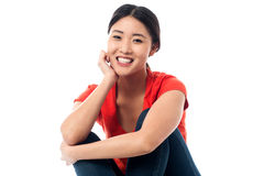 Pretty asian girl smiling heartily Stock Photo