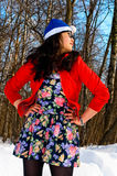 Pretty asian girl in winter forest Royalty Free Stock Images