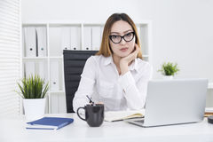 Pretty asian girl working on project Stock Image