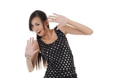 Pretty asian with hands up Royalty Free Stock Photo