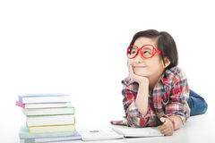 Pretty asian little girl are thinking Stock Images