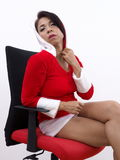 Pretty Asian model wearing Christmas uniform Stock Images