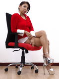 Pretty Asian Mother Christmas wearing sexy shoes Stock Images