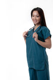 Pretty Asian nurse with friendly expression Stock Images