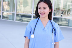 Pretty Asian Nurse at Hospital Stock Image