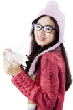 Pretty asian person in winter clothes Stock Photos
