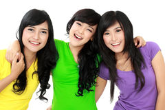 Pretty asian woman. Group of women best friend isolated against white background Stock Images