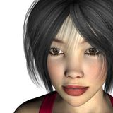 Pretty asian woman. Illustration of a pretty asian young lady in a red top vector illustration
