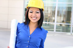 Pretty Asian Woman Architect Stock Photo