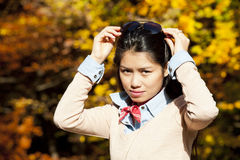 Pretty asian woman in autumn Stock Image