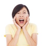 Pretty asian woman feel surprised facial expression Royalty Free Stock Image