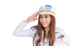 Pretty asian woman in marine uniform, isolated Royalty Free Stock Image