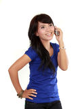 Pretty Asian Woman on the phone Royalty Free Stock Photo