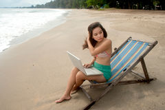 Pretty Asian woman relaxing on the beach. Stock Photography