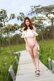 Pretty asian woman in siam tulip field Royalty Free Stock Image