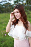 Pretty asian woman in siam tulip field Royalty Free Stock Images
