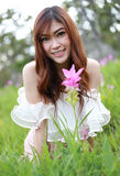 Pretty asian woman in siam tulip field Royalty Free Stock Image