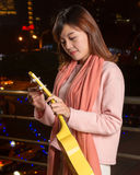 Pretty Asian woman with ukelele royalty free stock photography