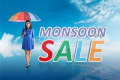 Pretty asian woman with umbrella on monsoon sale royalty free stock photo