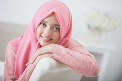 Pretty asian woman wearing hijab Stock Image