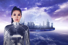 Pretty asian woman wearing latex jumpsuit. Inside cyber world concept Royalty Free Stock Photo