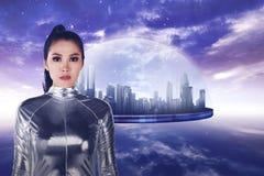 Pretty asian woman wearing latex jumpsuit Royalty Free Stock Photo