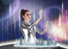 Pretty asian woman wearing latex jumpsuit. Inside cyber world concept Royalty Free Stock Photography