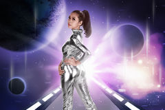 Pretty asian woman wearing latex jumpsuit Royalty Free Stock Image